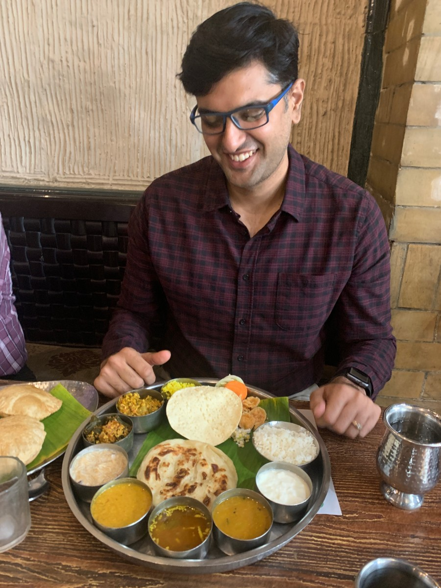 Mayank with South Indian lunch