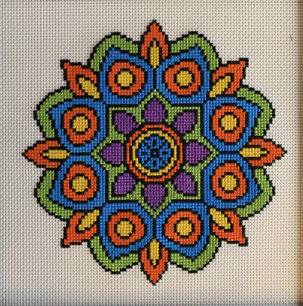 Mandala-inspired cross stitch project